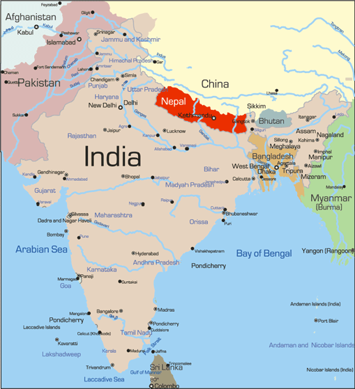 Nepal earthquake how to help school ambassadors nepal is situated in asia between india and china gumiabroncs Choice Image